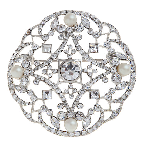Buy Carolee Faux Crystal And Pearl Circular Brooch Online at johnlewis.com