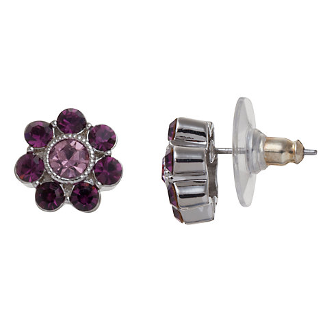 Buy Carolee Flower Glass Crystal Stud Earrings, Berry Online at johnlewis.com