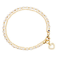 Buy Astley Clarke Biography Heart 18ct Gold Vermeil Rose Quartz Friendship Bracelet Online at johnlewis.com