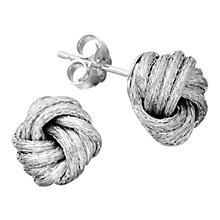 Buy Astley Clarke Woven Silver Knot Rhodium Plated Stud Earrings Online at johnlewis.com