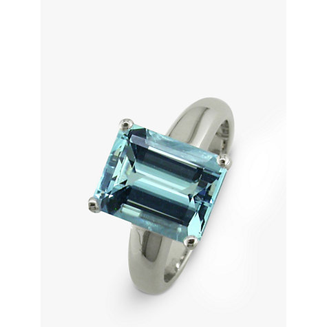 Buy EWA 9ct White Gold Emerald Cut Aquamarine Ring, N Online at johnlewis.com