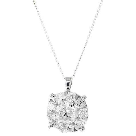 Buy EWA 18ct White Gold Solitaire Effect Diamond Pendant, 0.50ct Online at johnlewis.com