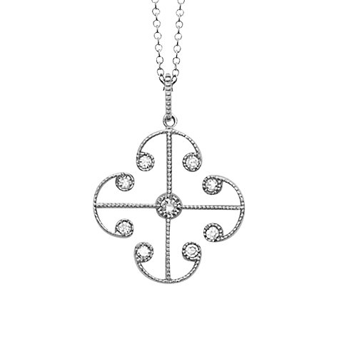 Buy London Road 9ct White Gold Diamond Lattice Pendant Online at johnlewis.com