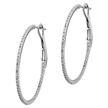 Buy EWA 18ct White Gold Diamond Row Hoop Earrings, 0.29ct Online at johnlewis.com