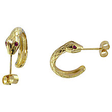 Buy London Road 9ct Yellow Gold Ruby Serpent Hoop Earrings, Gold Online at johnlewis.com