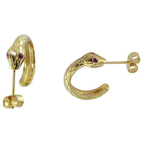 Buy London Road 9ct Yellow Gold Ruby Serpent Hoop Earrings Online at johnlewis.com