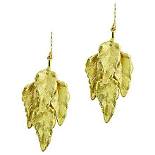 Buy London Road 9ct Gold Layered Leaf Drop Earrings, Gold Online at johnlewis.com