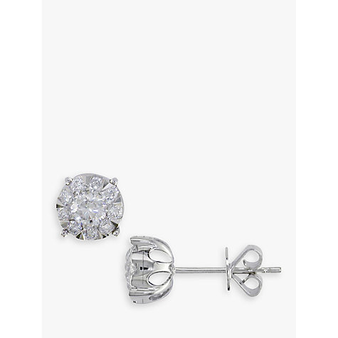 Buy EWA 18ct White Gold Solitaire Effect Diamond Large Stud Earrings, 0.75ct Online at johnlewis.com