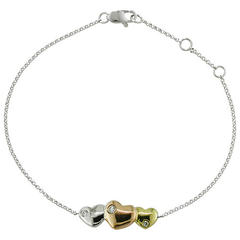 Buy EWA 9ct Mixed Gold Triple Heart Diamond Bracelet Online at johnlewis.com