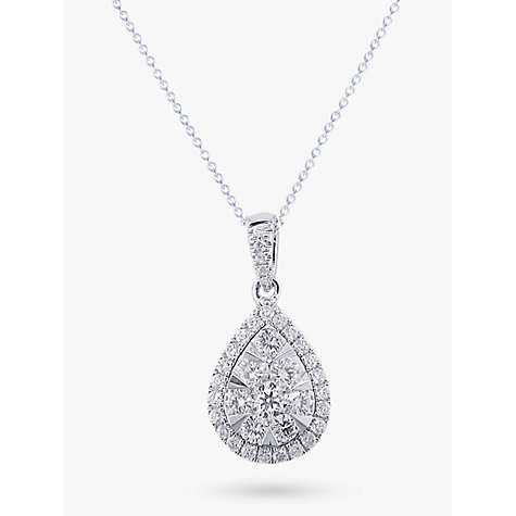 Buy EWA 18ct White Gold Diamond Cluster Pear Shaped Pendant, 0.66ct Online at johnlewis.com