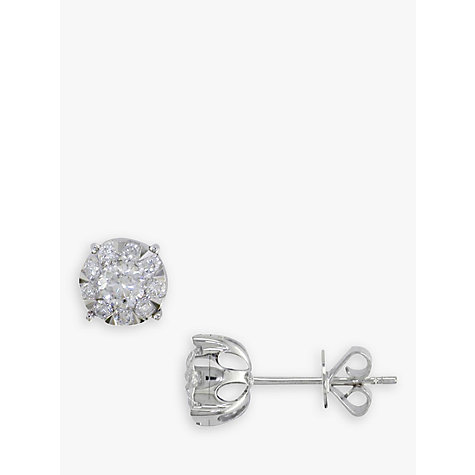 Buy EWA 18ct White Gold Solitaire Effect Diamond Stud Earrings, 0.50ct Online at johnlewis.com