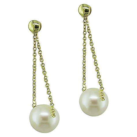 Buy EWA 9ct Gold Freshwater Pearl Chain Drop Earrings Online at johnlewis.com