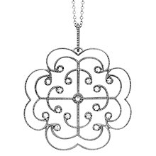 Buy London Road 9ct White Gold Diamond Large Lattice Necklac Online at johnlewis.com