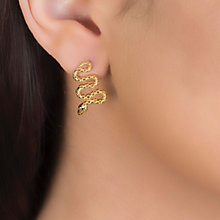 Buy London Road 9ct Yellow Gold Kew Serpent Drop Earrings, Gold Online at johnlewis.com