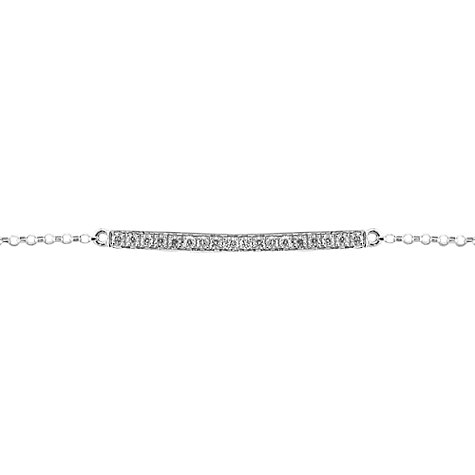 Buy EWA 9ct White Gold Diamond Set Bar Bracelet, White Gold Online at johnlewis.com