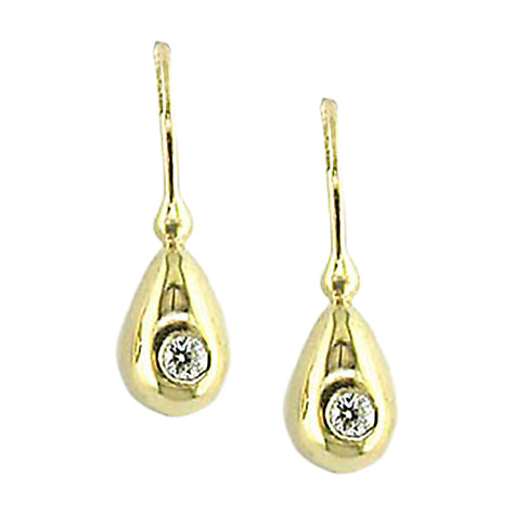 Buy EWA 9ct Gold Flush Set 0.06ct Diamond Drop Earrings Online at johnlewis.com