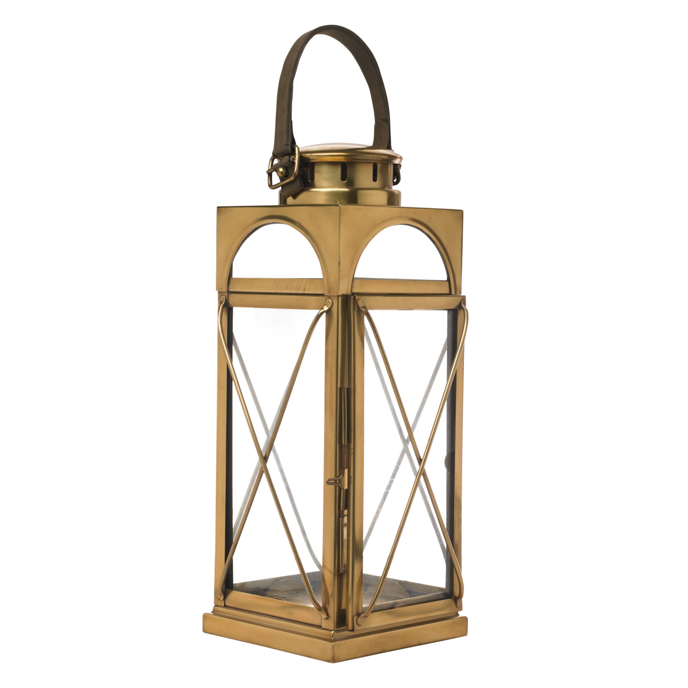 Libra Antique Brass Lantern, Gold, Medium