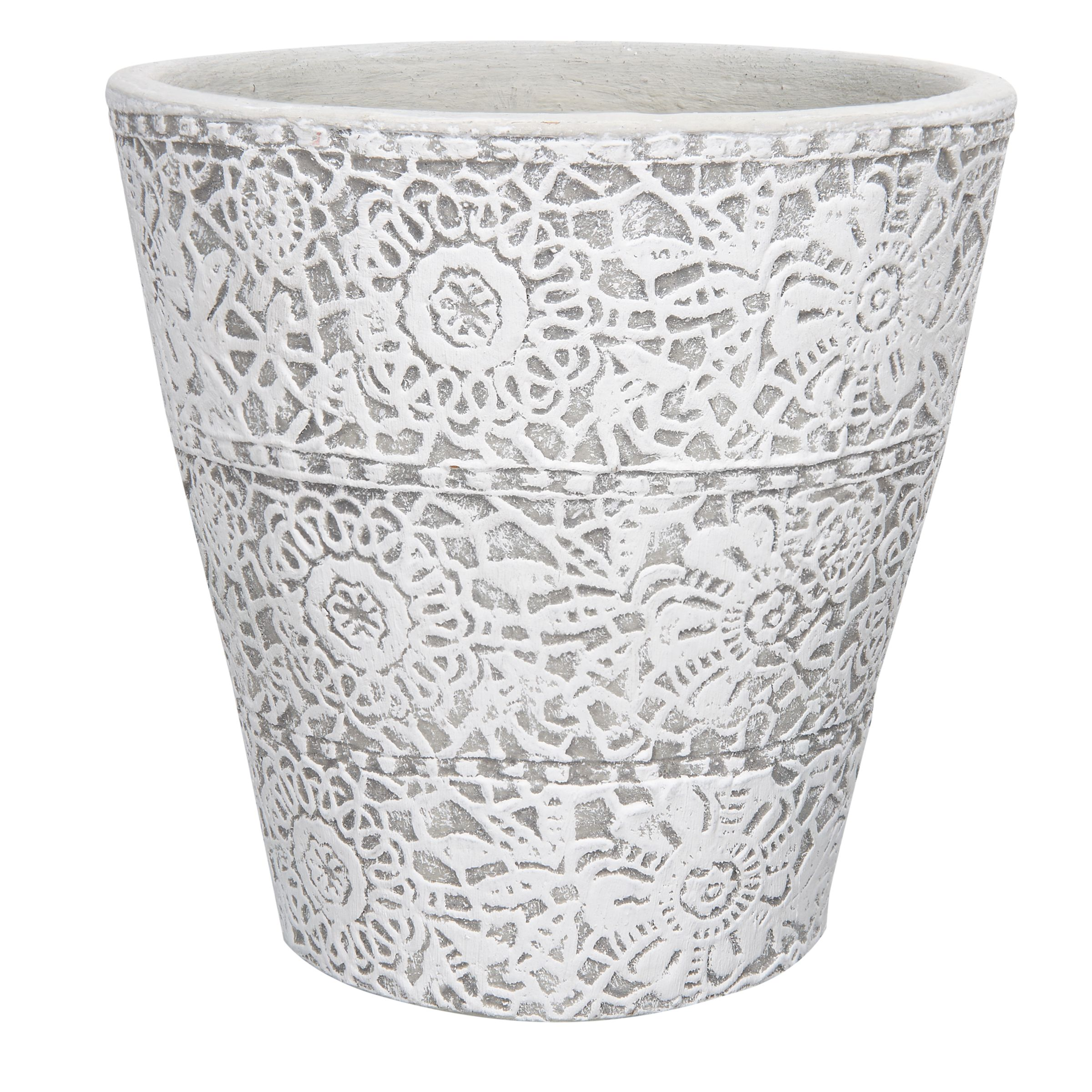 Parlane Stone Patterned Planter, White