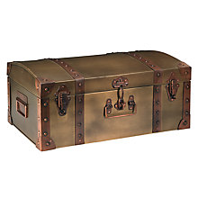 Buy John Lewis Vintage Brass Trunk, Brown, Large Online at johnlewis.com