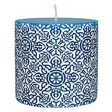 Buy John Lewis Embossed Candle, H7cm, Teal Online at johnlewis.com