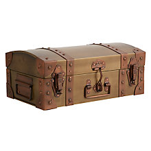 Buy John Lewis Vintage Brass Trunk, Brown, Small Online at johnlewis.com