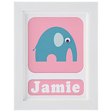 Buy Stripey Cats Personalised Elwyn Elephant Framed Print, 23 x 18cm Online at johnlewis.com