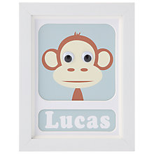 Buy Stripey Cats Personalised Marley Monkey Framed Print, 23 x 18cm Online at johnlewis.com