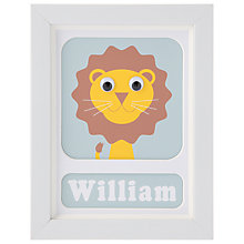 Buy Stripey Cats Personalised Livingston Lion Framed Print, 23 x 18cm, Blue Online at johnlewis.com