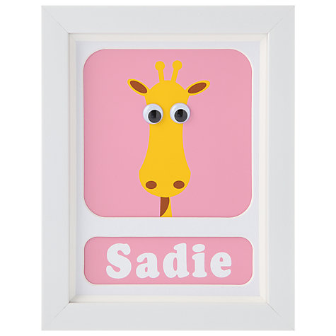 Buy Stripey Cats Personalised Geoffrey Giraffe Framed Print, 23 x 18cm Online at johnlewis.com