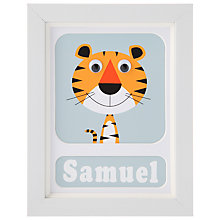 Buy Stripey Cats Personalised Terrance Tiger Framed Print, 23 x 18cm Online at johnlewis.com