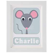 Buy Stripey Cats Personalised Minty Mouse Framed Print, 23 x 18cm Online at johnlewis.com