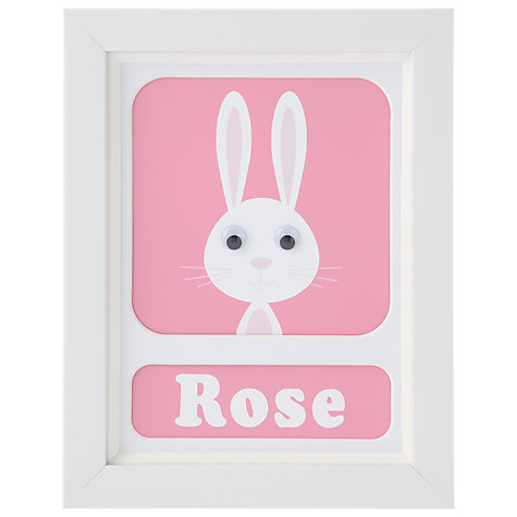 Buy Stripey Cats Personalised Rhonda Rabbit Framed Print, 23 x 18cm Online at johnlewis.com