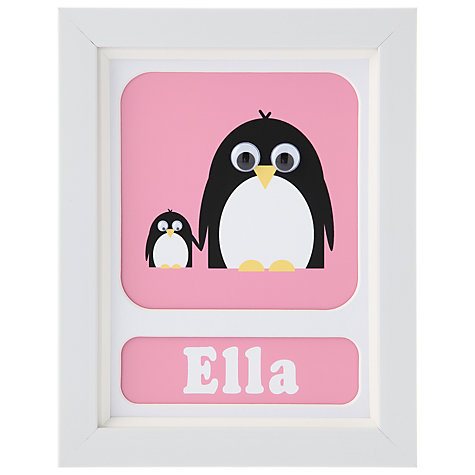Buy Stripey Cats Personalised Poppy & Petula Penguin Framed Print, 23 x 18cm Online at johnlewis.com