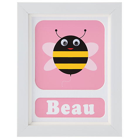 Buy Stripey Cats Personalised Bert Bee Framed Print, 23 x 18cm Online at johnlewis.com