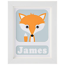Buy Stripey Cats Personalised Freddie Fox Framed Print, 23 x 18cm Online at johnlewis.com