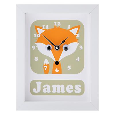 Image of Stripey Cats Personalised Freddie Fox Framed Clock, 23 x 18cm