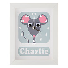 Buy Stripey Cats Personalised Minty Mouse Framed Clock, 23 x 18cm Online at johnlewis.com