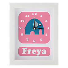 Buy Stripey Cats Personalised Elwyn Elephant Framed Clock, 23 x 18cm Online at johnlewis.com
