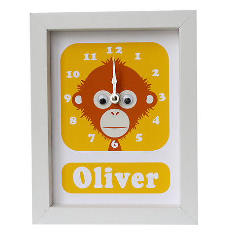 Buy Stripey Cats Personalised Ozzy Orangutan Framed Clock, 23 x 18cm Online at johnlewis.com