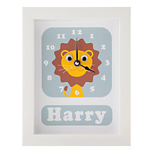 Buy Stripey Cats Personalised Livingston Lion Framed Clock, 23 x 18cm, Blue Online at johnlewis.com