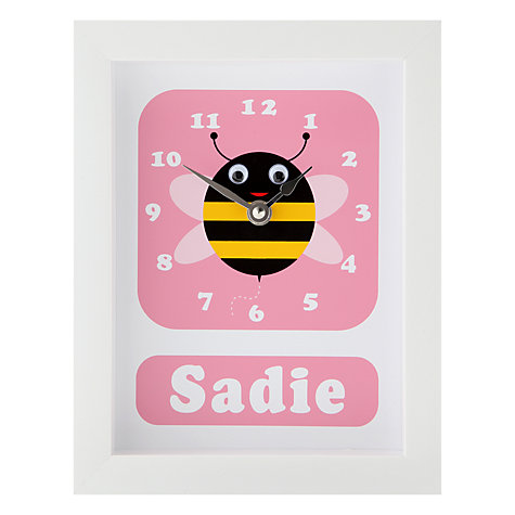 Buy Stripey Cats Personalised Bert Bee Framed Clock, 23 x 18cm Online at johnlewis.com