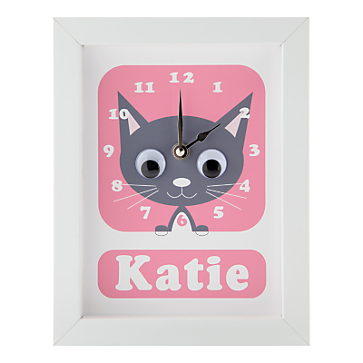 Image of Stripey Cats Personalised Kirsty Kitten Framed Clock, 23 x 18cm