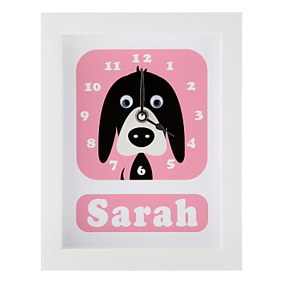 Image of Stripey Cats Personalised Donnie Dog Framed Clock, 23 x 18cm