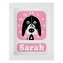 Buy Stripey Cats Personalised Donnie Dog Framed Clock, 23 x 18cm Online at johnlewis.com