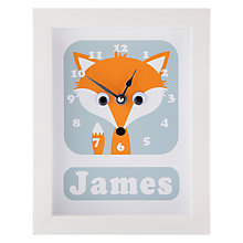 Buy Stripey Cats Personalised Freddie Fox Framed Clock, 23 x 18cm Online at johnlewis.com