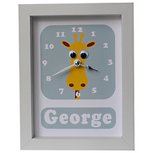 Buy Stripey Cats Personalised Geoffrey Giraffe Framed Clock, 23 x 18cm Online at johnlewis.com