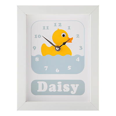 Image of Stripey Cats Personalised Daisy Duck Framed Clock, 23 x 18cm, Blue