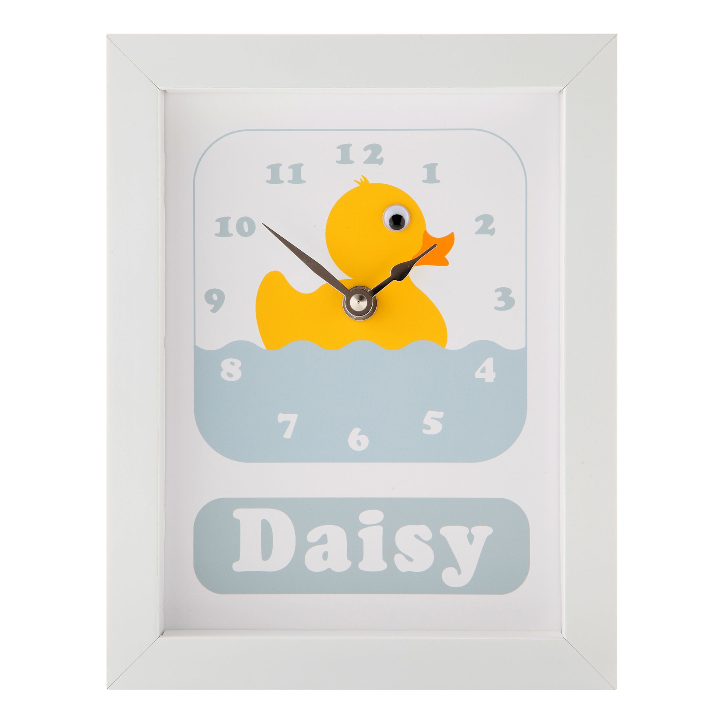 Stripey Cats Stripey Cats Personalised Daisy Duck Framed Clock, 23 x 18cm, Blue