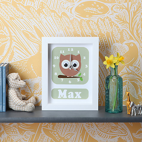 Buy Stripey Cats Personalised Osbert Owl Framed Clock, 23 x 18cm Online at johnlewis.com