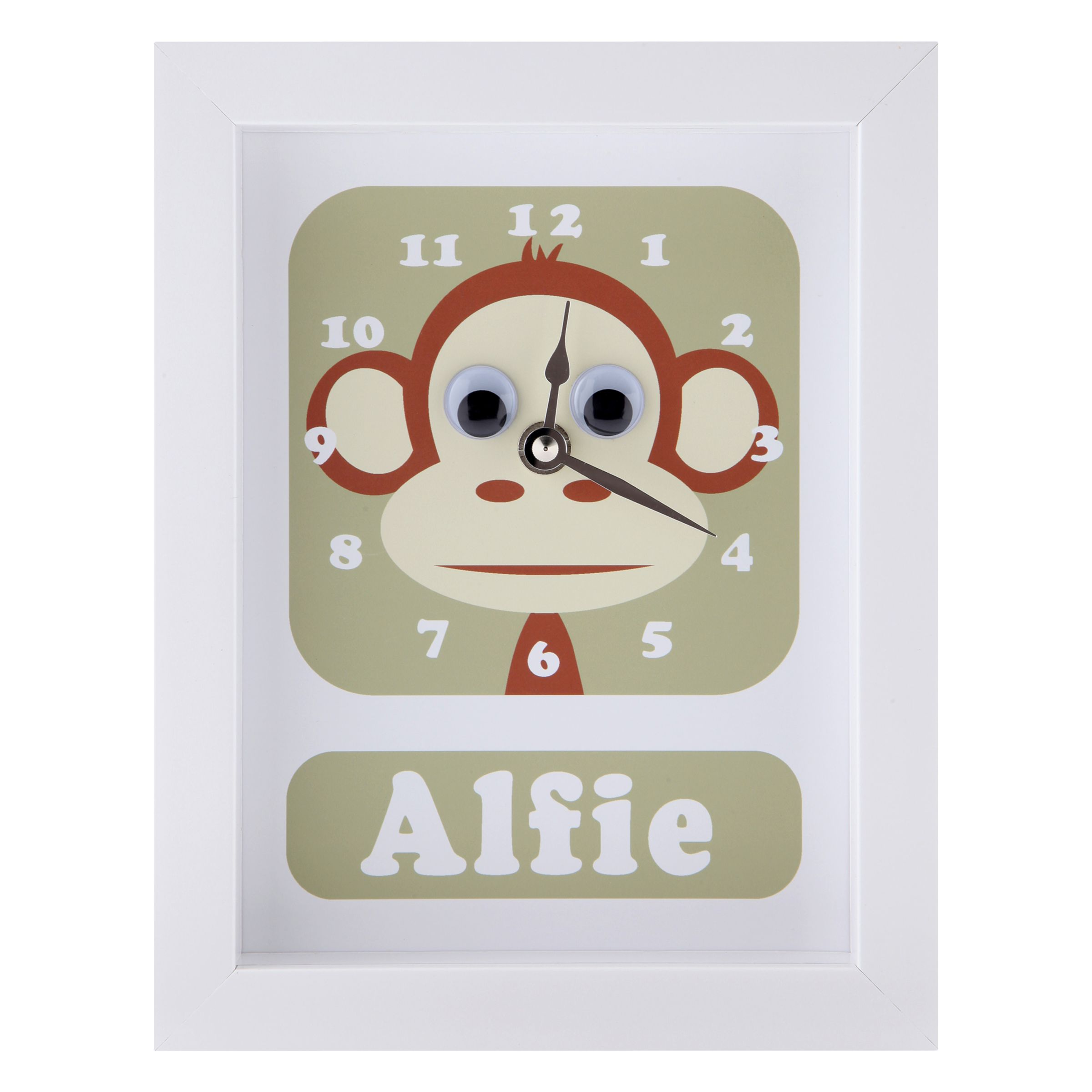 Stripey Cats Stripey Cats Personalised Marley Monkey Framed Clock, 23 x 18cm
